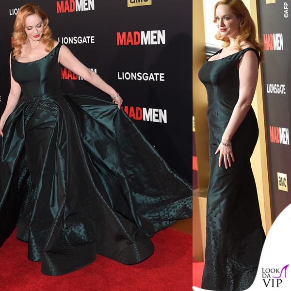 Christina-Hendricks-Black-Red-Ball-abito-Zac-Posen